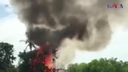 میانمار کے گاؤں میں آتش زدگی