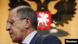 El ministro de Relaciones Exteriores de Rusia, Sergei Lavrov, luego de una rueda de prensa en Moscú.