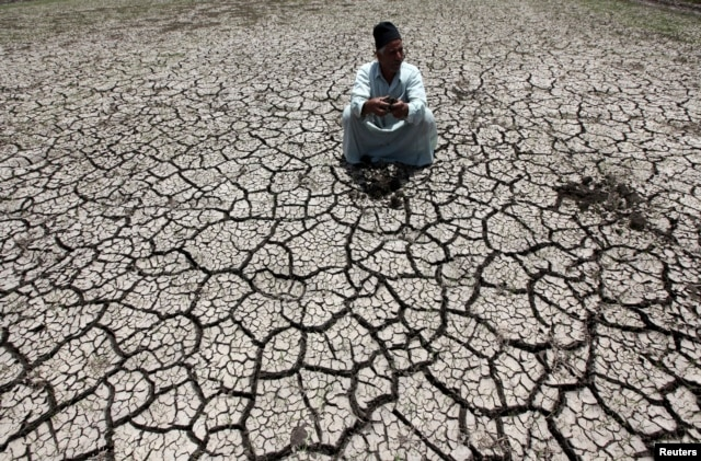 An Egyptian farmer squats down on cracked soil to show the dryness of the land due to drought in a farm formerly irrigated by the river Nile, in Al-Dakahlya, about 120 km from Cairo, June 4, 2013.
