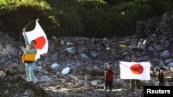 日本右派人士登上钓鱼岛