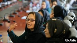 Participantes à un forum sur la violence contre les femmes, le 15 mai 2017 à Kaboul en Afghanistan