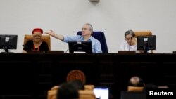 The president of the National Assembly Gustavo Porras talks at a parliamentary session on the approval of $100 million loan from Taiwan for budget support, in the Nicaraguan parliament building in Managua, Feb. 19, 2019.