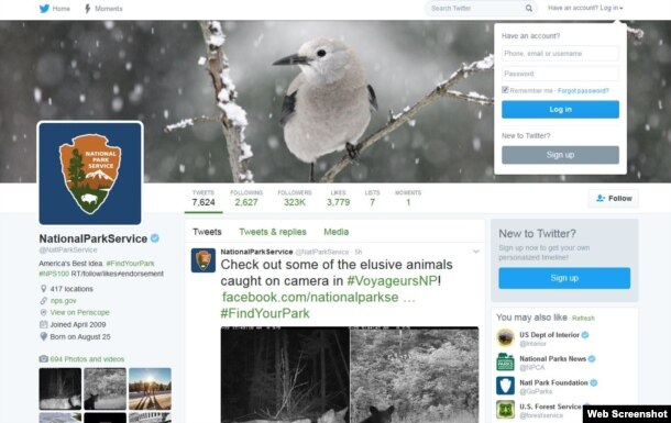Página de Twitter del Servicio Nacional de Parques de Estados Unidos.