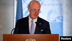 U.N. Syria envoy Staffan de Mistura attends a news conference at the United Nations in Geneva, Switzerland June 14, 2018.