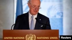 U.N. Syria envoy Staffan de Mistura attends a news conference at the United Nations in Geneva, Switzerland, June 14, 2018.