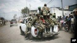 ກຸ່ມກະບົດ M23 ຢູ່ໃນຄອງໂກ ໄດ້ຖອນອອກຈາກເມືອງ Goma ທາງພາກຕາເວັນອອກຂອງປະເທດ ໃນວັນເສົາ ວັນທີ 1 ທັນວາ 2012 ຕາມຂໍ້ຕົກລົງທີ່ເຊັນກັນ ຢູ່ທີ່ນະຄອນຫຼວງ Kampala ໃນອາທິດແລ້ວນີ້. (AP Photo/Jerome Delay