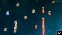 Ảnh vệ tinh của Maxar Technologies cho thấy các tàu cá Trung Quốc đang hiện diện ở khu vực Đá Ba Đầu vào ngày 23/3/2021.