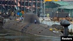 Tàu ngầm INS Arihant của hải quân Ấn Độ, tại xưởng tàu của hải quân trong thành phố Visakhapatnam, miền nam Ấn Độ