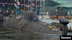 FILE - Indian Navy's INS Arihant submarine is pictured at the naval warehouse in the southern Indian city of Visakhapatnam.