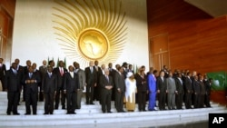 Heads of the African States pose for a group picture in Addis Ababa, Ethiopia, Jan, 27, 2013, during the African Union Conference.