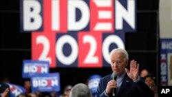 បេក្ខជនឈរឈ្មោះប្រធានាធិបតីខាងគណបក្សប្រជាធិបតេយ្យ លោក Joe Biden ថ្លែងក្នុងកម្មវិធីឃោសនាបោះឆ្នោតមួយក្នុងក្រុង Sumter រដ្ឋ South Carolina ថ្ងៃទី២៨ ខែកុម្ភៈ ឆ្នាំ២០២០។