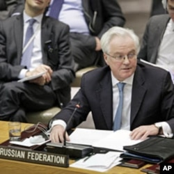 Vitaly Churkin, Russia's Ambassador to the UN, speaks during the United Nations Security Council meeting to discuss the situation in Libya, New York, March 7, 2012