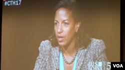 对美国前国家安全顾问赖斯的采访通过网络直播(美国之音记者久岛拍摄)
