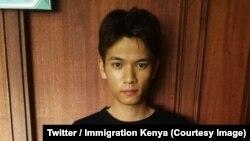 """Liu Jiaqi, ressortissant chinois, a vu son permis de travail annulé et va être expulsé pour racisme après avoir comparé les Kenyans et leur président Uhuru Kenyatta à des """"singes"""", le 6 septembre 2018"""