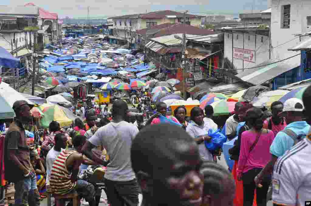 The local market does business as usual despite fears of the Ebola virus, Monrovia, Liberia, Aug. 19, 2014.