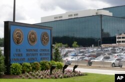 FILE - The National Security Administration campus, where the U.S. Cyber Command is located, is seen in Fort Meade, Maryland.