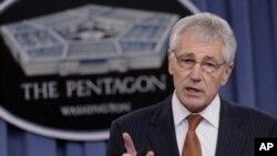 El secretario de Defensa, Chuck Hagel, durante una rueda de prensa en el Pentágono.