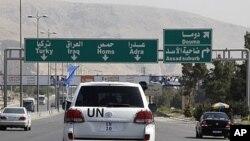 អ្នកសងេ្កតការអង្គការសហប្រជាជាតិធ្វើដំណើរពីការិយាល័យរបស់ខ្លួននៅ Damascus ទៅកាន់ Douma ថ្ងៃទី២៦ មេសា ២០១២។
