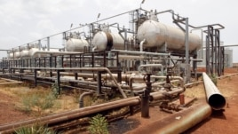 An oil processing facility is seen at an oilfield in Unity State, South Sudan, April 22, 2012.
