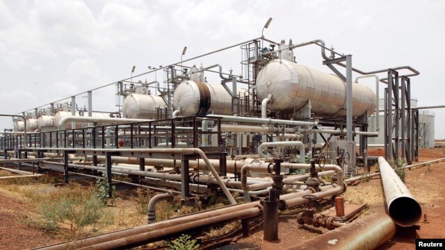 FILE - An oil processing facility is seen at an oilfield in Unity State, South Sudan, April 22, 2012.
