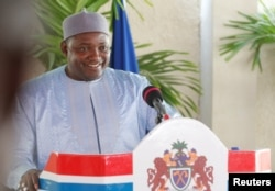 Gambia's President Adama Barrow holds a news conference in his residence in Banjul, Jan. 28, 2017.