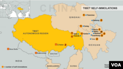 Tibet Immolation Map