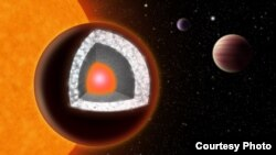 Ilustrasi dari interior '55 Cancri e,' planet sangat panas yang diselimuti grafit dan berlian. (Foto: Haven Giguere)