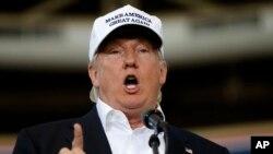 Calon presiden dari Partai Republik Donald Trump saat berbicara di Des Moines, Iowa (27/8).