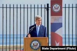 FILE - U.S. Secretary of State John Kerry delivers remarks at the flag-raising ceremony at the newly re-opened U.S. Embassy in Havana, Cuba, on August 14, 2015.
