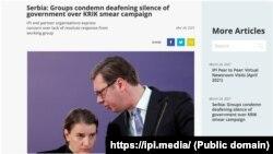 Vlasti Srbije se u pismu pozivaju da preduzmu potrebne korake kako bi se zaustavile aktuelne pretnje protiv KRIK-a i drugih nezavisnih medija u Srbiji. (Foto: https://ipi.media/)