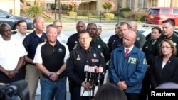 Orlando Police Chief John Mina and other city officials answer the media's questions about the Pulse nightclub shooting in Orlando, Florida, June 12, 2016.