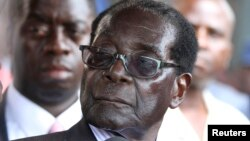 FILE - Zimbabwe President Robert Mugabe addresses supporters outside ZANU-PF headquarters.