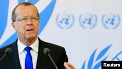 Martin Kobler, head of the U.N. Support Mission in Libya, talks to reporters after his address to the 33rd Human Rights Council at the United Nations in Geneva, Sept. 27, 2016.