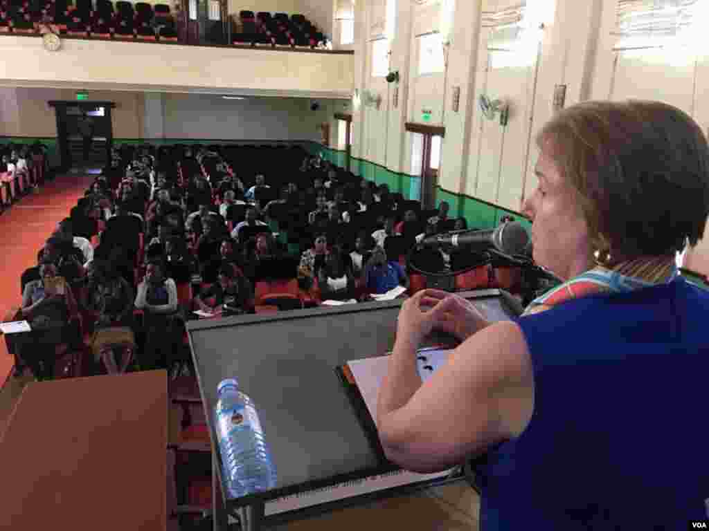 Journalism students at the famed #Makerere University in Kampala, Uganda, listen to VOA Director Amanda Bennett's speech.