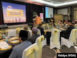Presiden IMSA Syafrin Setiawan Murdas membuka Muktamar IMSA 2019 di Oakbrook, Illinois. (Foto: VOA/Valdya)