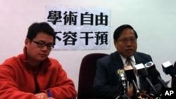 香港民主黨主席何俊仁(右)召開記者會批郝鐵川嚴重干預學術自由 (資料圖片)