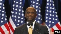 Kandidat Presiden Amerika Herman Cain dalam sebuah konferensi pres di scottsdale, Arizona (8/11).
