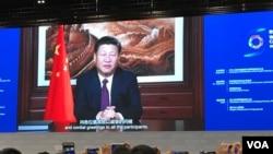 中国国家主席习近平发表视频讲话祝贺第三届世界互联网大会开幕。(美国之音叶兵拍摄)
