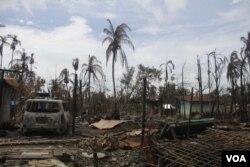 ໝູ່ບ້ານຊາວ Rohingya Hla Tun ທີ່ຖືກເຜົາຜານ.