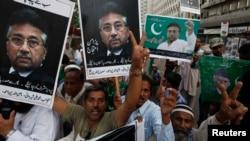 Supporters of former President Pervez Musharraf in Karachi, Pakistan on April 6, 2014.