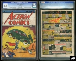 """FILE - In this file image provided by Metropolis Collectibles/ComicConnect, Corp., shows the front and back cover of """"Action Comics No. 1"""" from 1938, featuring the debut of Superman."""