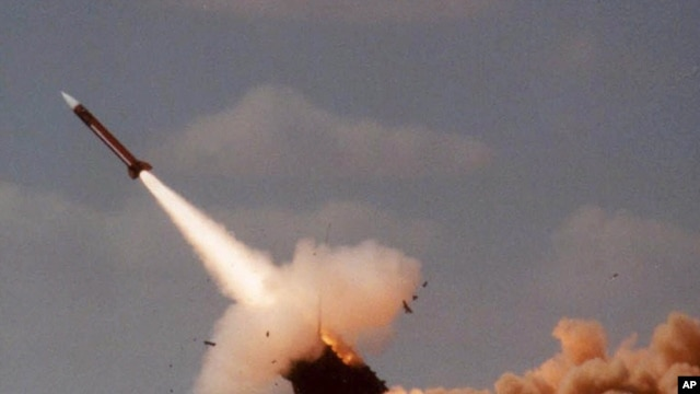File - A Patriot missile during launch.