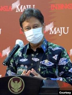 Menkes Budi Gunadi Sadikin dalam telekonferensi pers di Istana Kepresidenan, Jakarta , Senin (11/1).(Biro Setpres)