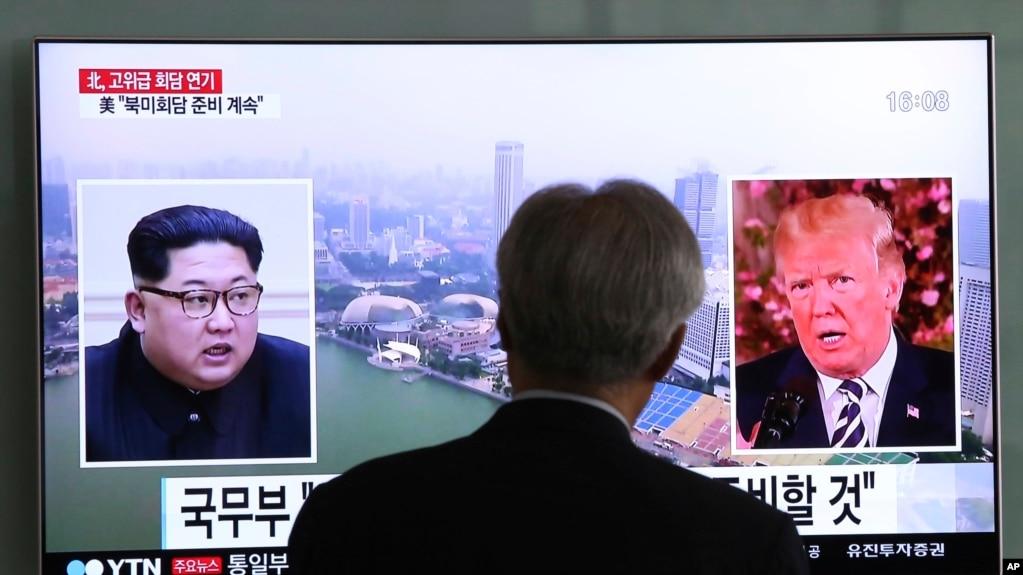 Truyền hình Hàn Quốc đưa tin về cuộc gặp thượng đỉnh sắp tới của Lãnh tụ Triều Tiên Kim Jong Un và Tổng thống Mỹ Donald Trump.