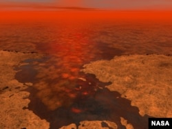 An artist's conception of ice in a liquid hydrocarbon sea on Saturn's moon Titan. (NASA/JPL-Caltech/USGS)