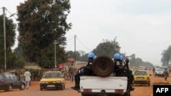 Des soldats de la Minusca à Bangui en septembre 2014 (AFP PHOTO/PACOME PABANDJI)