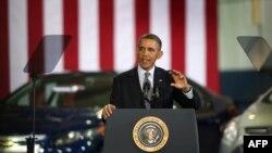 Presiden Barack Obama berpidato di Laboratorium Nasional Argonne di Argonne, Illinois (15/3).