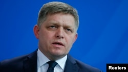 Slovakian Prime Minister Robert Fico speaks during the news conference at the Chancellery in Berlin, Germany, April 3, 2017.