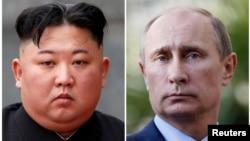 Bức ảnh ghép Chủ tịch Kim Jong Un và Tổng thống Putin.