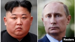 FILE - A combination of file photos shows North Korean leader Kim Jong Un and Russia's President Vladimir Putin.